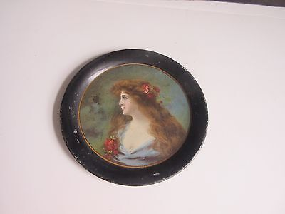 Vtg 1890's Advertising Tin Tip Tray Serving Tray