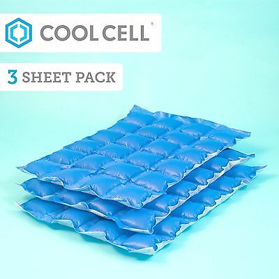 CoolCell Ice packs x 3 Reusable Sheets, Chilled For Days, Non Melting, Flexible