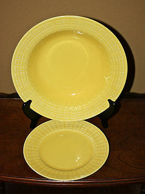 RARE Yellow Knowles deep plate + bread plate soup bowl Basketweave