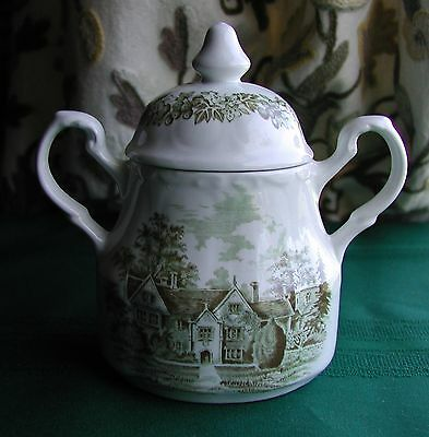 "J & G  Meakin Romantic England Green China 3 3/4"" Sugar Bowl"