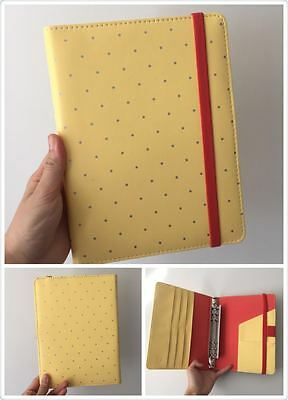 yellow polka dots planner organizer A5 large desk size PU leather NEW 6ring