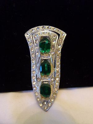 Art Deco Dress Clip Green Glass Paste Rhinestone Silver Plate Pot Metal Signed