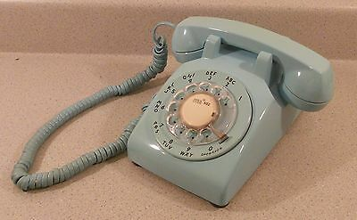 Vintage Western Electric 500 Rotary Dial Telephone Aqua Turquoise Blue Phone