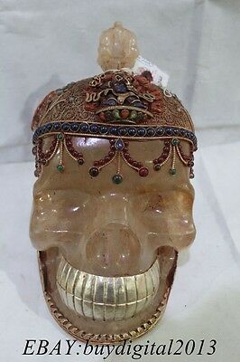 "10""Tibet Buddhism Costful crystal inlay Gem handwork Buddha Skull Head Statue"