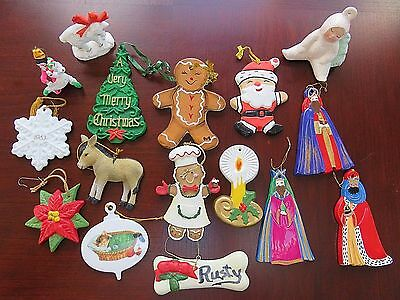 Lot of 16 Vtg Ceramic Christmas Tree Ornaments - Wise Men, Gingerbread and More