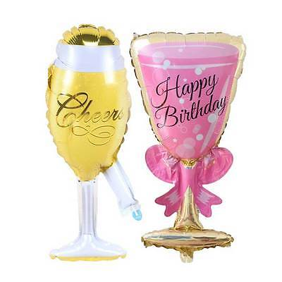 Foil Helium Balloon Happy Birthday Bottle Goblet Shaped Wedding Party Decoration