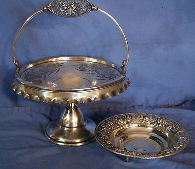 2 pc Antique ROGERS Silverplate Bride's Basket & Ornate Pierced Bowl w/ ROSES