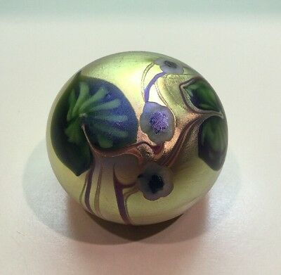 ORIENT & FLUME // Glass Iridescent Paperweight // Sign & Numbered // Ca. 1977