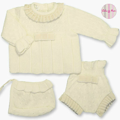 Spanish Baby Girl 3pce Knitwear Outfit Clothing Size 6m