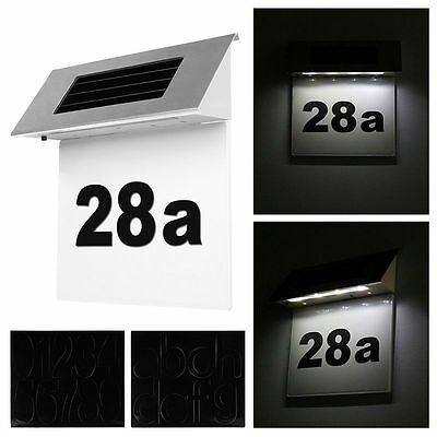 Stainless Solar Powered Led Illuminated House Door Number Light Wall Plaque KY