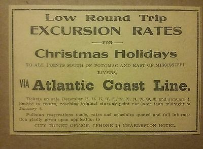 1911 Atlantic Coast Line Railroad Christmas Holidays Ad