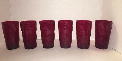"""Set Of 6 Red Ruby Tumblers 5"""" Tall, 12 Ounce - Bumps & Indentions - Unusual"""