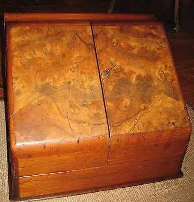 Antique Victorian Burl Walnut Stationery Document Cabinet Box