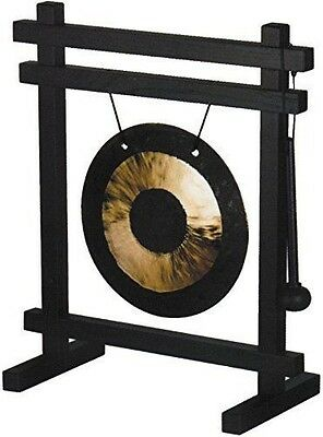 Woodstock Chimes Percussion Desk Gong Black Ash Wood Frame, Rubber Mallet