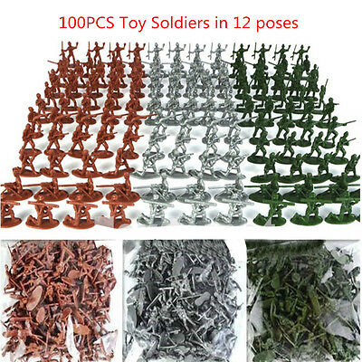 100 Pcs Military Plastic Soldiers Army Men Tan Figures 12 Poses Children Toy