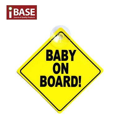 Baby on Board Safe Sign Safety Car Window Display Suction Stick Yellow Plastic