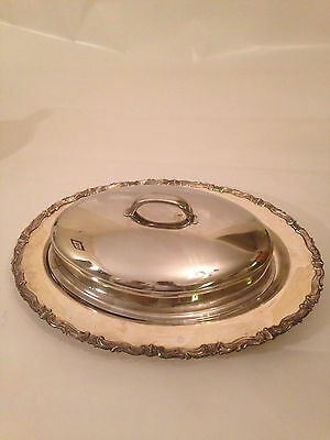Vintage Silverplated Oval Bowl Dish Lid Footed Silver Plated Cake by F.B Rogers