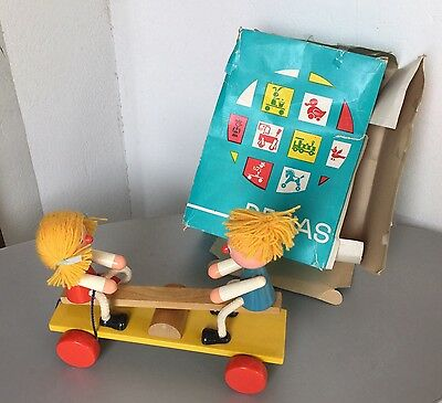 Vintage 70s Pull Toy Wooden Wood Childrens On Carousel  Czech By De Jas