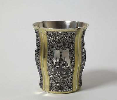 Solid silver glass with pictures of Petersburg. Gilding, niello. Moscow, 1846.