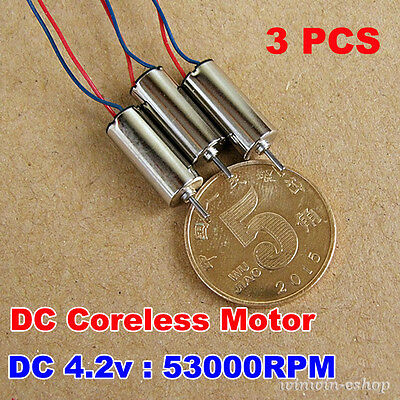 3PCS High Speed DC 3.7V-4.2V 53000RPM Micro CorelessMotor StrongMagnetic DIY Toy