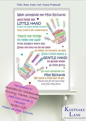 PERSONALISED Thank You Teacher Nursery Childminder  Leaving Gift Word Art A4