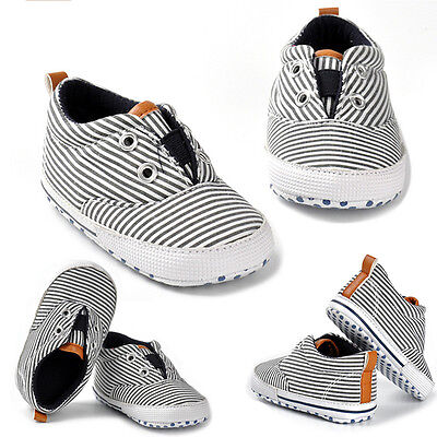 Infant Baby Girl Boy Striped Shoe Soft Crib Sole Anti-slip Canvas Shoes Sneakers