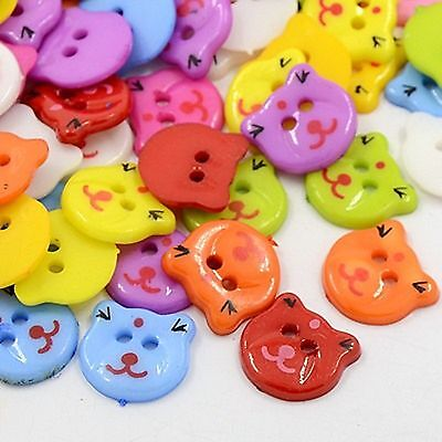 lot 20 boutons chat multicolor 2 t melange couture mercerie scrapbooking 13x12mm