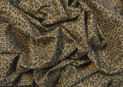 "Punk Leopard Animal Print On Brown Stretch Cotton Twill Fabric 58"" Width"