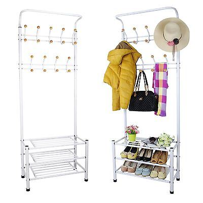 White Metal Steel Pipe Stands Coat Clothes Shoes Hat Umbrella Rack Hanger Hooks