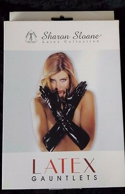 Sharon Sloane Rubber Latex collection Black Gauntlets Gloves Shiny Wet Look NEW