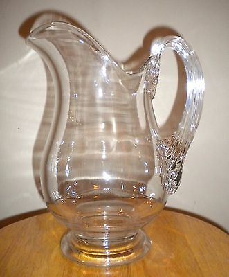 Antique Heavy Glass Pitcher Applied Handle Blown and Molded