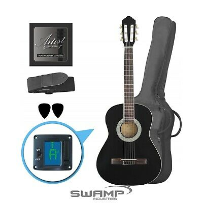 3/4 Size Classical Nylon String Acoustic Guitar - Black