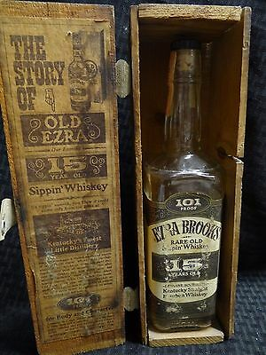 """Vintage Old Ezra Brooks 15 Yr Old  """"Sippin' Whiskey"""" Bottle (Empty) w/ Wood Box"""