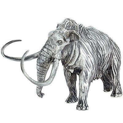 Lost World Collection Woolly Mammoth 8 oz .925 Silver Antiqued Figurine Statue