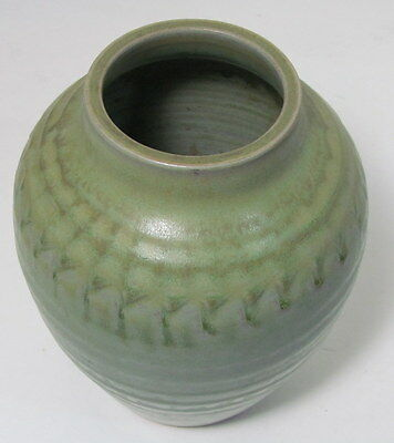 "Vintage Pottery Green Mat Finish Red Clay 8-3/4"" Vase"