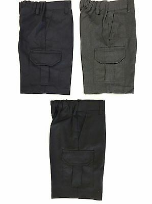 Boys Cargo School Shorts Age 4 5 6 7 8 9 10 11 12 13 Black Grey Navy