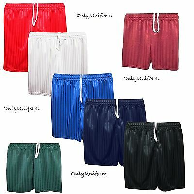 Unisex Boys Girls School Shadow Stripe Sports School Pe Shorts Football Uk