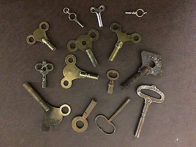 REDUCED PRICE Vintage Antique  Clock Keys Job Lot Selection of 14 FREE POSTAGE