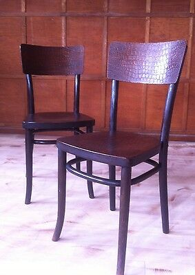Antique Bentwood Chairs Crocodile Skin Design Home Bar Saloon Man Cave !