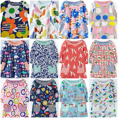 NEW IN!! 12 STYLES Mini Boden Girls Long Sleeve Hotchpotch Dresses 1-12 Yrs
