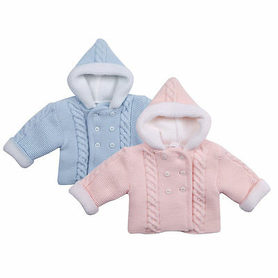 Pram Coat Baby Jumper Babies Cardigan Girls Boys Pink Blue Hooded Knitted Top