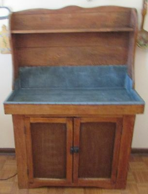 Antique Dry Sink With Tin Wrapped Sink And High Back