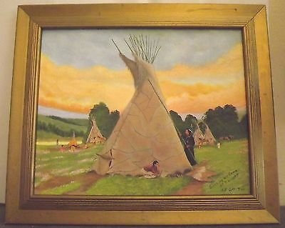 "Signed A.E. Smith ""Setting Up Camp At Sunset"" Southwestern Tee Pee Oil Framed"