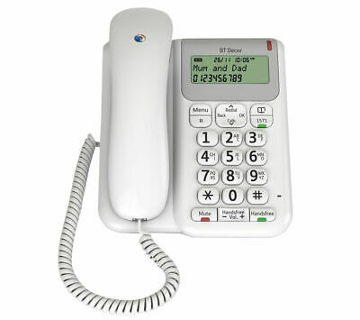 BT Décor 2200 Corded Telephone With Speakerphone Hearing-aid friendly White