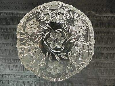 "Antique ABP Floral Cut Glass 8.25"" Pairpoint Bowl American Brilliant Period"