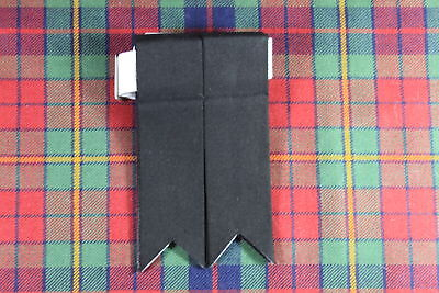 NEW SCOTTISH HIGHLAND KILT Polyester HOSE / SOCK FLASHES WITH GARTERS IN BLACK