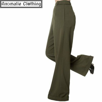 Banned Apparel Party On Wide Leg Trousers in Olive