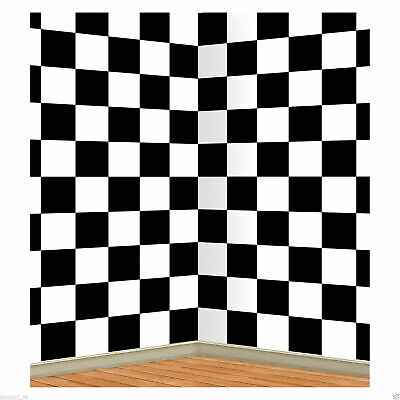 Checkered Black White Sock Hop Racing Alice In Wonderland Decoration Backdrop