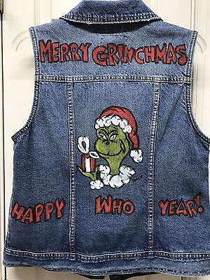 UGLY? Dr. SEUSS Grinch Vest Hand Painted Size L Adult Clothing