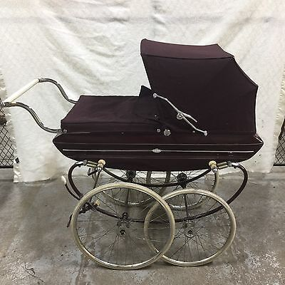 Vintage Silvercross Allurin Pram Buggy English DOLL CARRIAGE Burgundy England